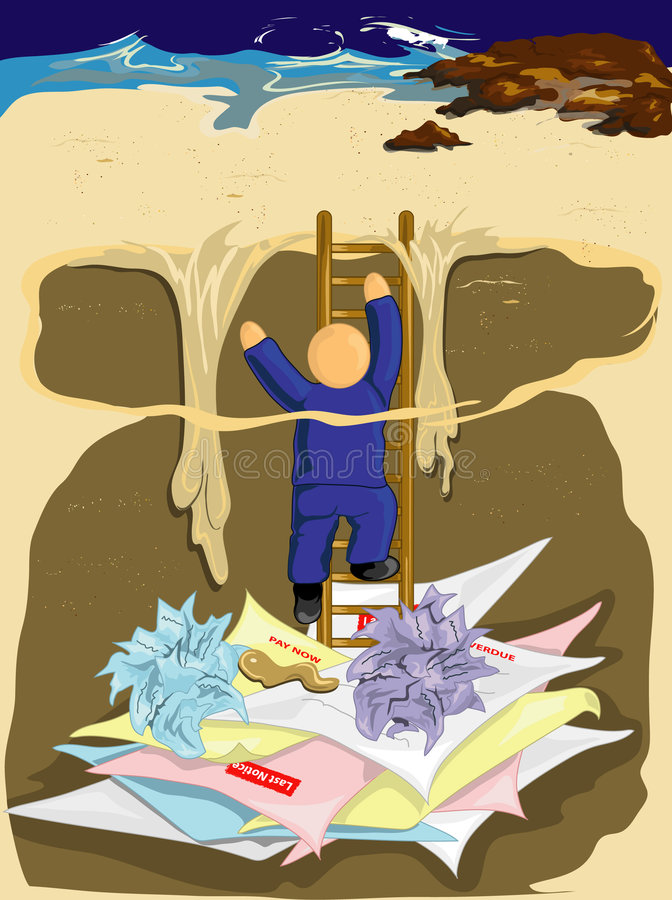 взбираясь задолженность вне бесплатная иллюстрация