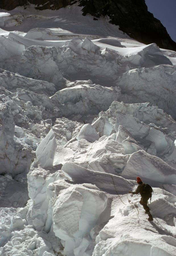 взбираясь puyallup ледникового льда стоковое изображение