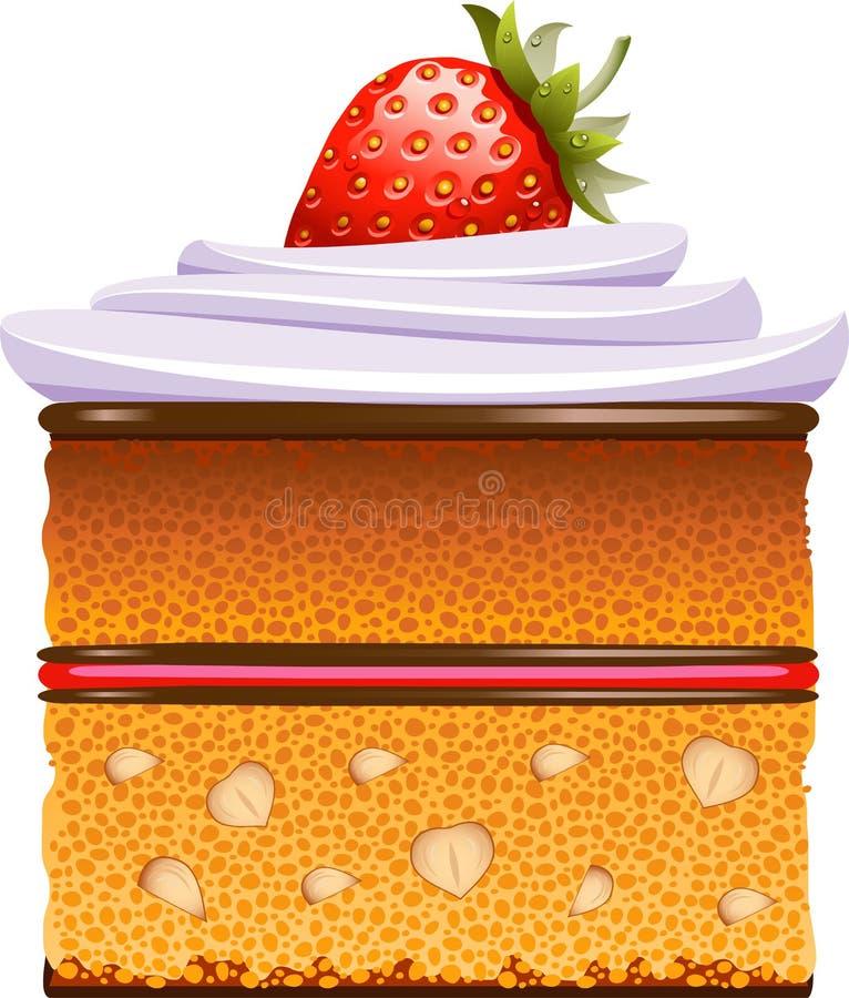 взбитые клубники торта cream иллюстрация вектора
