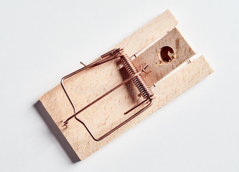 Взведенная курок мышеловка без приманки, сверху стоковая фотография rf