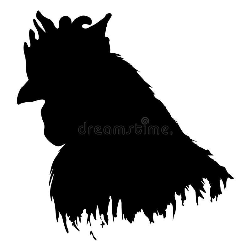 Взведите курок вектору искусства контура силуэта птицы фермы петуха животным черно-белым изолированному monochrome иллюстрация штока