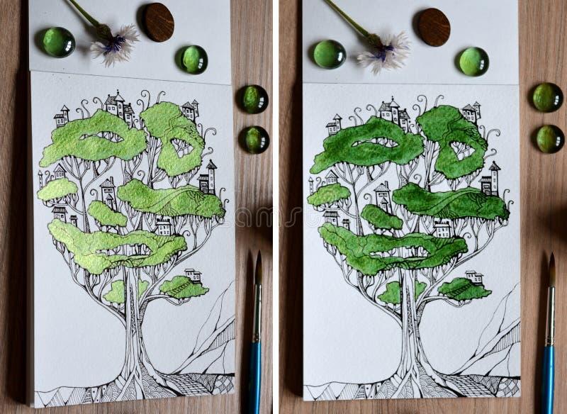 2 взгляда с различным освещением иллюстрации fairy дерева - городка стоковое фото