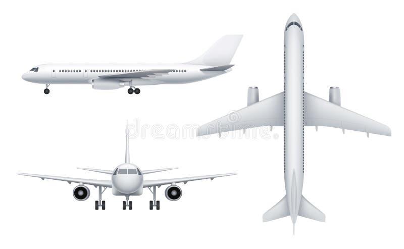 Взгляды гражданских самолетов Самолет пассажира белый в различных взглядах летает иллюстрации вектора перехода реалистические иллюстрация штока