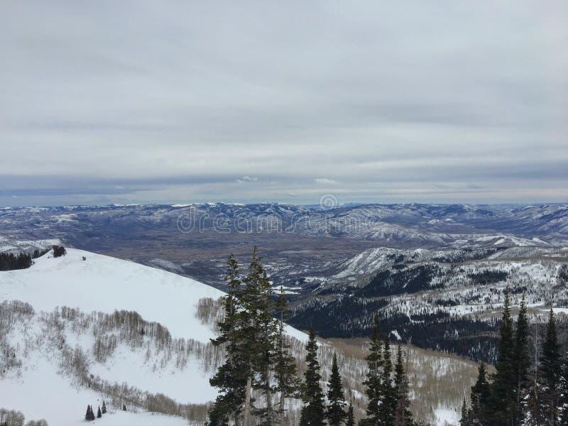 Взгляды зимы величественные вокруг гор Уосата передних скалистых, лыжного курорта Брайтона, близко к озеру сол и долине Heber, Pa стоковые изображения rf