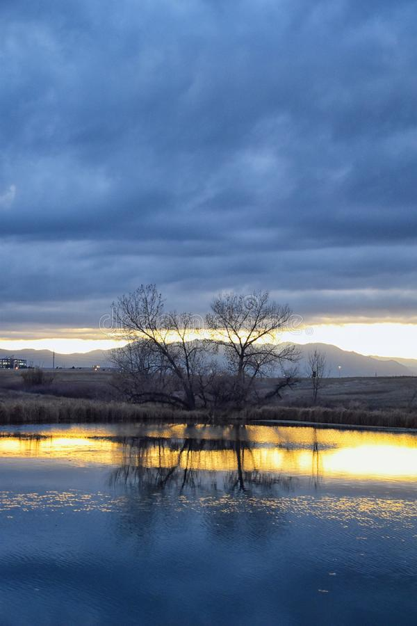Взгляды пути пруда Josh's идя, отражая захода солнца в Broomfield Колорадо окруженном Cattails, равнин и Ла скалистой горы стоковое изображение rf