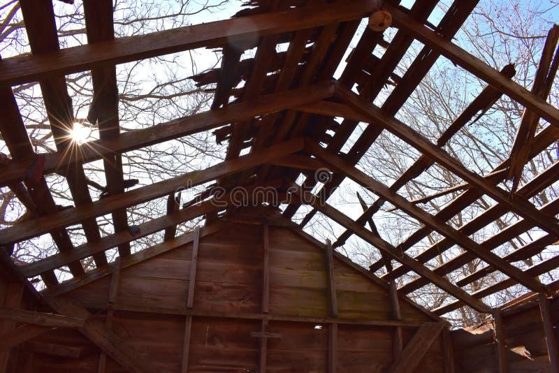 Взгляды украдкой Солнця через деревья и крышу старого амбара стоковое фото