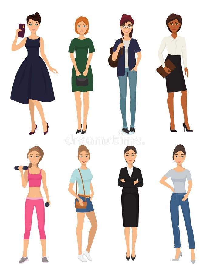 Взгляды характера одежд девушки фотомодели вводят одежду в моду подруг feemale очарования покупок элегантной женщины стильную иллюстрация штока