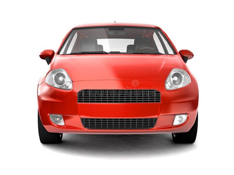 взгляд автомобиля компактный передний красный иллюстрация вектора