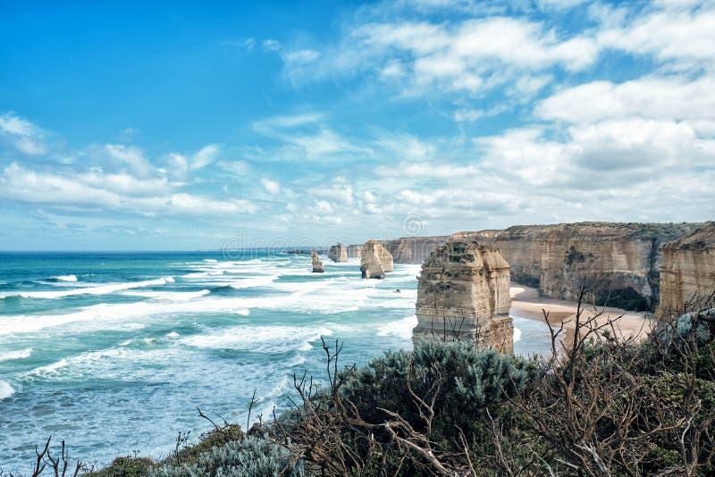 Взгляд 12 апостолов сценарный, Австралия, Виктория стоковые фотографии rf