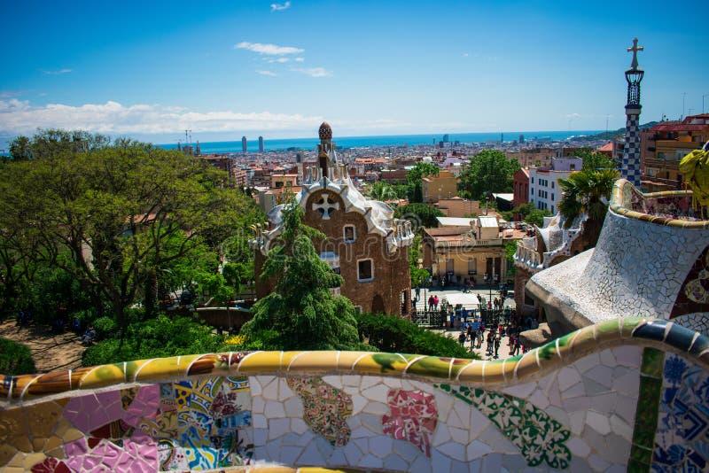 Взгляд Барселоны от парка флигеля ¼ gÃ, Испании стоковое фото rf