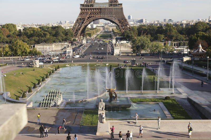 взгляд башни palais chaillot de eiffel стоковое фото