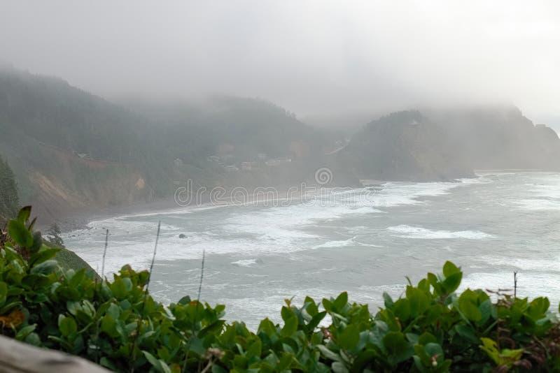 Взгляд берега океана от маяка Meares накидки стоковые фотографии rf