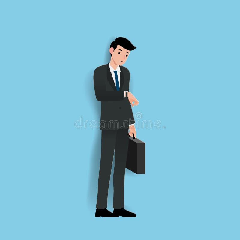 Взгляд бизнесмена на его вахте для того чтобы проверить время и ждать сотрудник или его торговца о минуте к часу иллюстрация штока