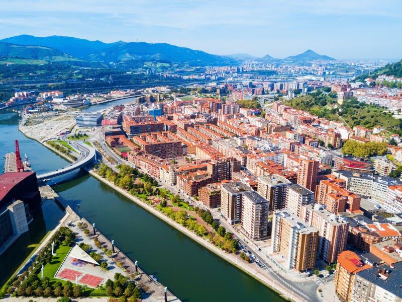 Взгляд Бильбао воздушный панорамный, Испания стоковое изображение