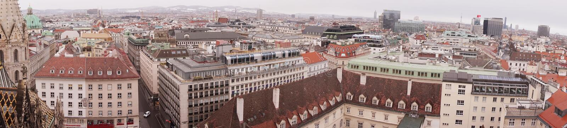 Взгляд Вены зимы от башни собора St Stephen's стоковая фотография