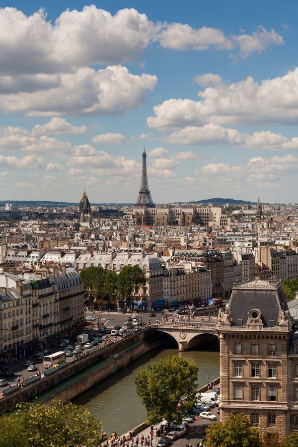 взгляд вертикали paris notre dame стоковая фотография rf