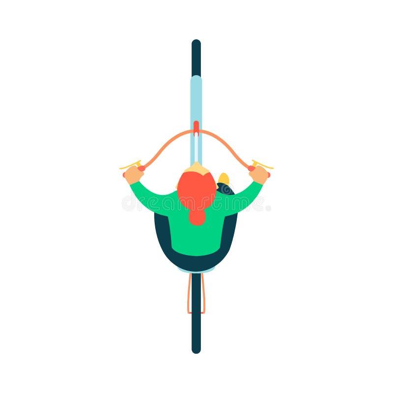 Взгляд верхней части или плана водителя женщины сидя на стиле мультфильма велосипеда плоском иллюстрация штока