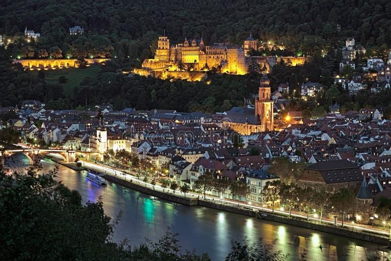 Взгляд вечера городка Гейдельберга старого, Германии стоковая фотография rf