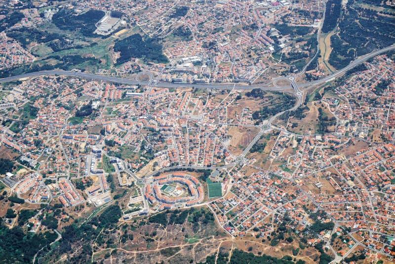 Взгляд воздуха Almada Португалия стоковые изображения