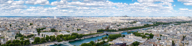 Взгляд высокого разрешения панорамный центрального Парижа стоковая фотография rf