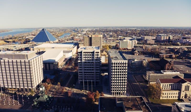 Взгляд высокого угла центра города Мемфиса стоковое изображение rf