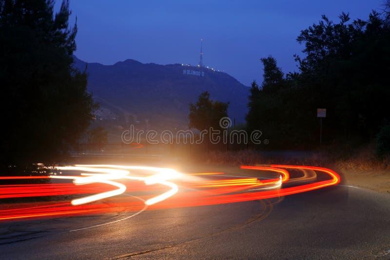 Взгляд в ноче от привода Mulholland стоковые фотографии rf