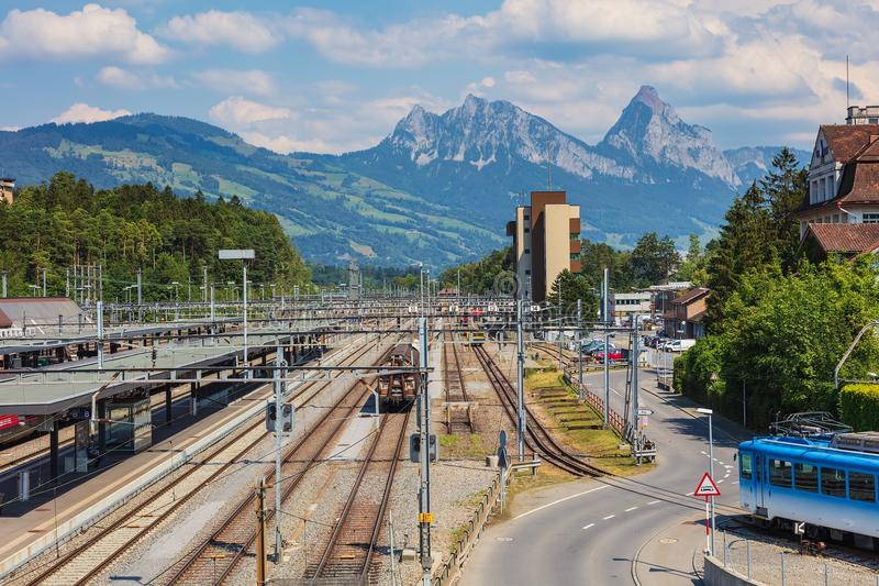 Взгляд в Arth-Goldau, Швейцарии стоковая фотография rf