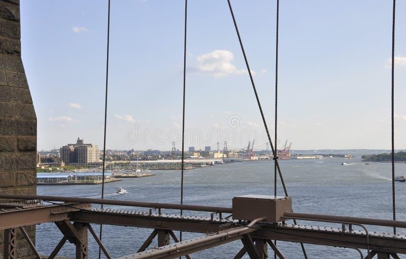 Взгляд гавани Нью-Йорка от Бруклинского моста над Ист-Ривер Манхаттана от Нью-Йорка в Соединенных Штатах стоковые фото