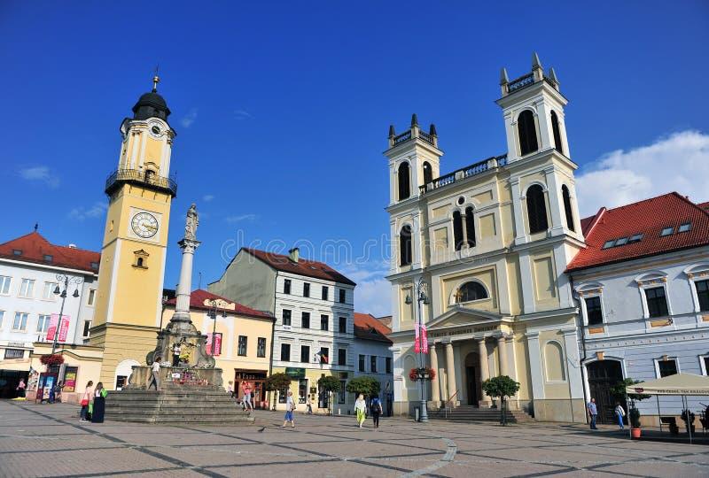 Взгляд главной площади городка Banska Bystrica стоковые изображения rf