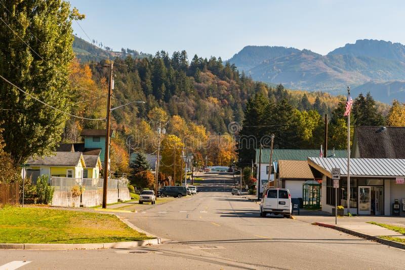 Взгляд главной улицы бетона с лесом и горами на заднем плане, Вашингтон, США стоковые изображения rf
