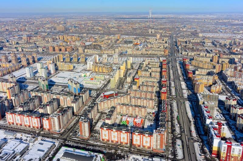 Взгляд глаза птицы на 3-ем жилом районе Tyumen стоковая фотография