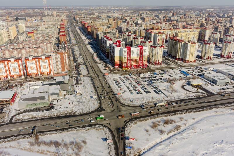 Взгляд глаза птицы на 3-ем жилом районе Tyumen стоковое изображение