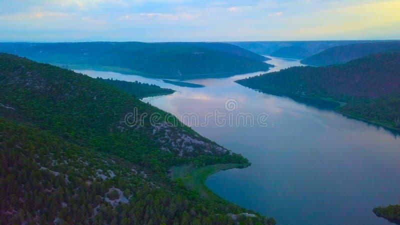 Взгляд глаза птицы Хорватии, Европы; Красивая природа острова Mljet в Хорватии стоковая фотография rf