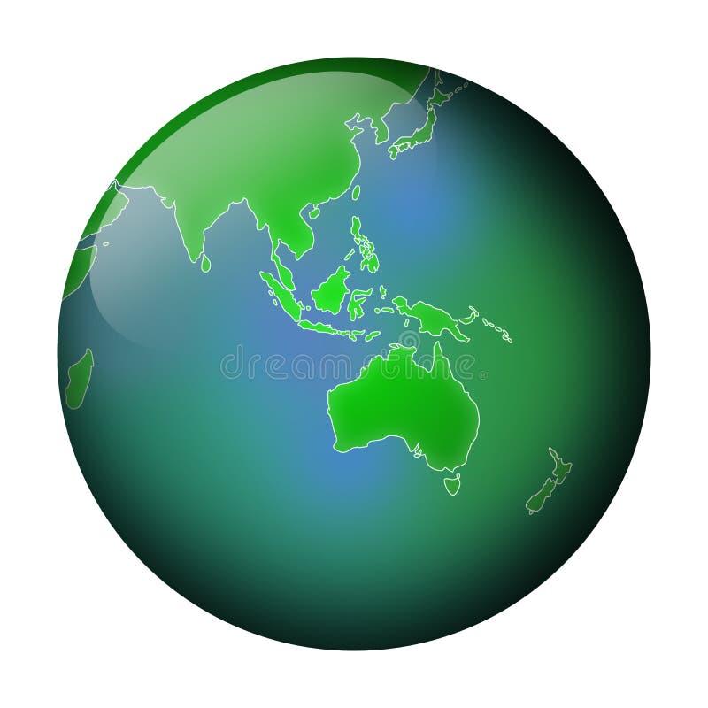 взгляд глобуса зеленый иллюстрация вектора