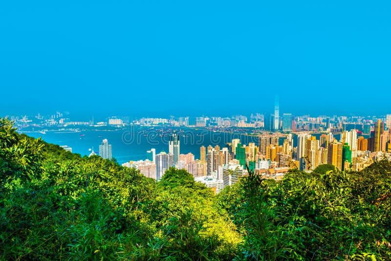 Взгляд горизонта Гонконга от пика Виктории стоковое фото rf