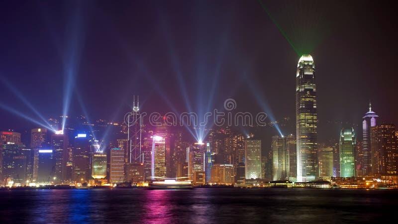 взгляд горизонта ночи Hong Kong фарфора стоковое изображение rf
