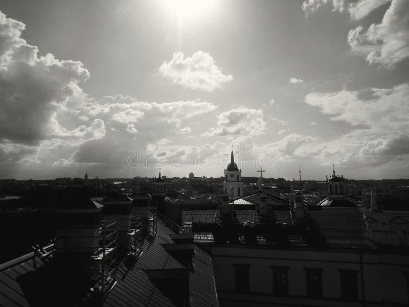 Взгляд города Вильнюса панорамный стоковая фотография rf
