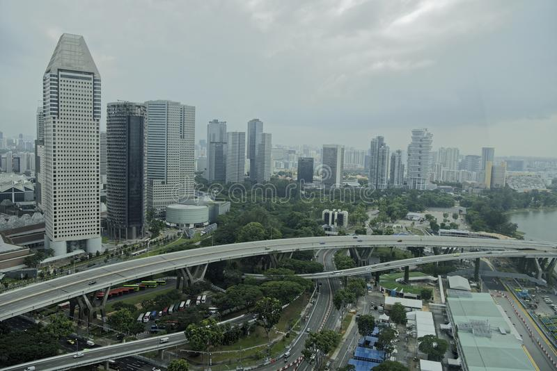 Взгляд города от рогульки Сингапура стоковое изображение rf