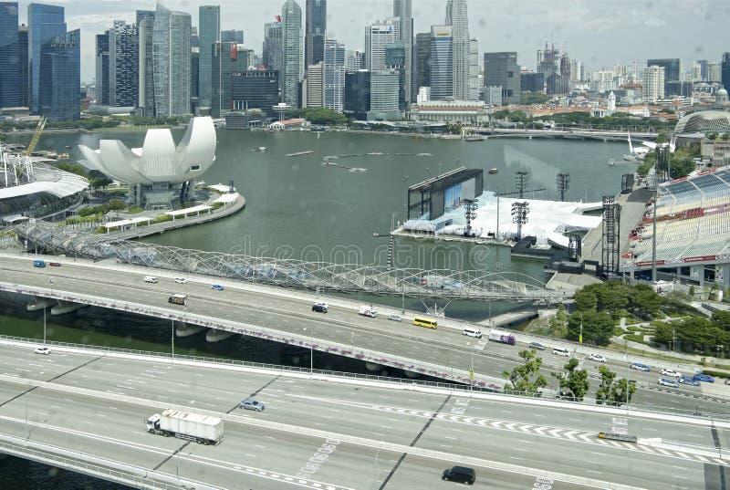 Взгляд города от рогульки Сингапура стоковые фотографии rf