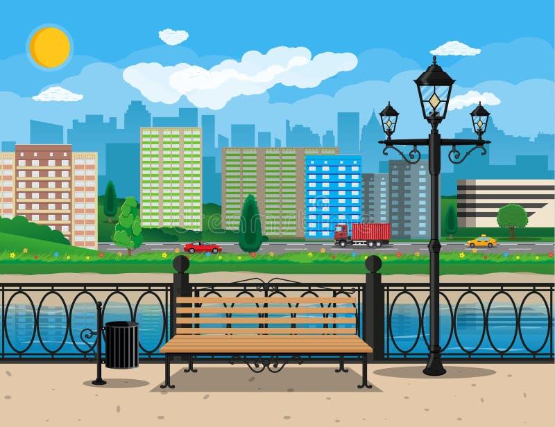 взгляд города самомоднейший Портовый район, река, обваловка иллюстрация штока