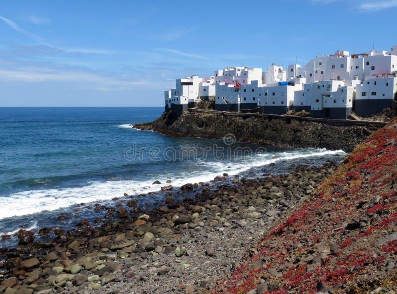 Взгляд городка Moya на острове Гран-Канарии стоковое фото rf