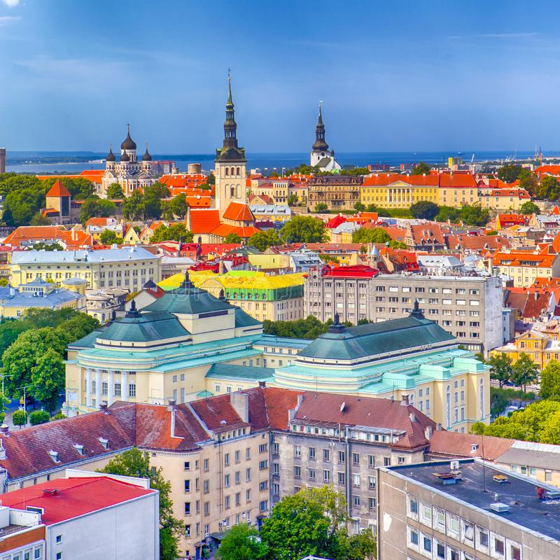 Взгляд городского пейзажа города Таллина на холме Toompea в Эстонии съемка стоковая фотография