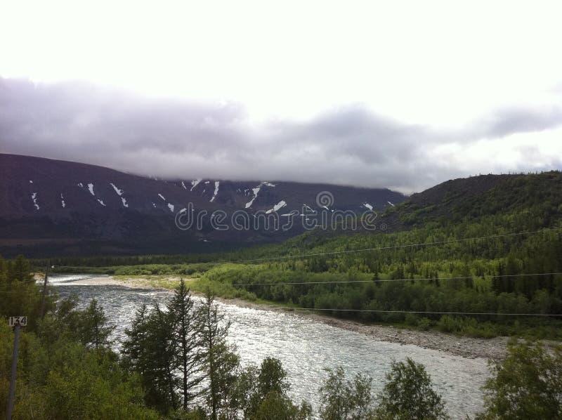 Взгляд гор Ural от окна поезда стоковое фото rf