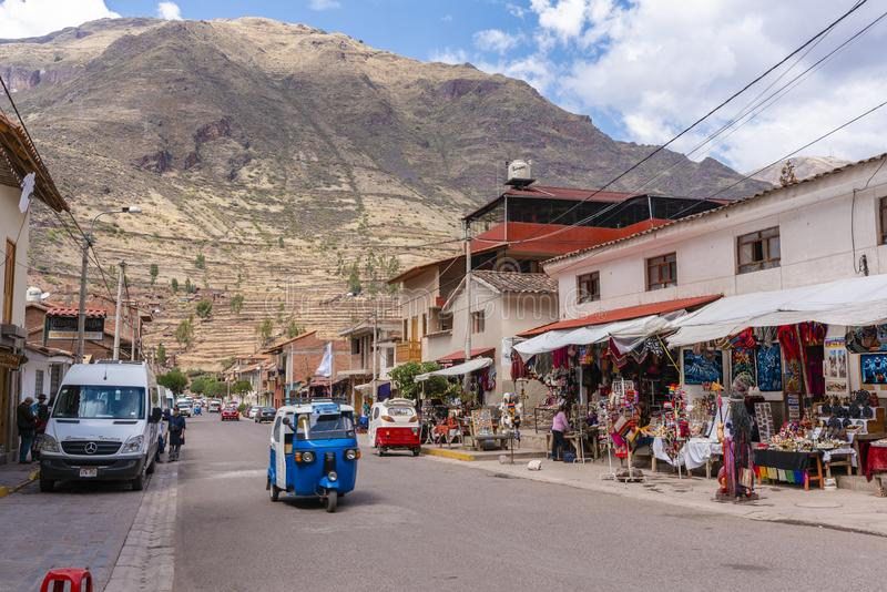 Взгляд деревни Pisac в Перу стоковое изображение rf