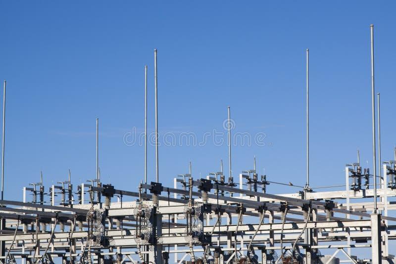 Взгляд детали электрической подстанции стоковые фотографии rf