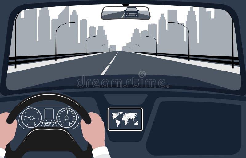Взгляд дороги от иллюстрации интерьера автомобиля иллюстрация штока