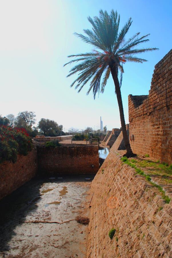 Взгляд древней крепости, Caesarea Израиль стоковые фотографии rf
