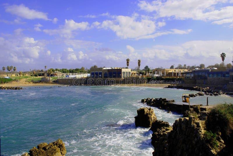 Взгляд древней крепости, Caesarea Израиль стоковое фото