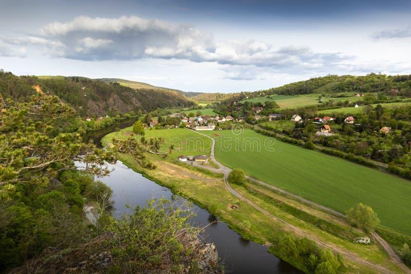 Взгляд живописного ландшафта зеленого холма и реки Berounka r стоковая фотография