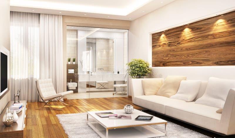 Взгляд живущей комнаты с совмещенным bathroom иллюстрация вектора